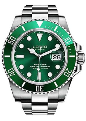 Mens Watches GMT Silver Stainless Steel Sapphire Crystal Diving Watch (Green)