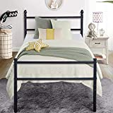 VECELO Reinforced Metal Bed Frame Platform Mattress Foundation/Box Spring Replacement with Headboard & Footboard, Twin, Black