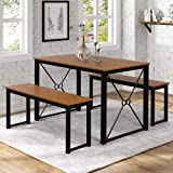 Sense FV Dining Table Set,3 Pieces Modern Kitchen Table Set with 2 Benches, Wood Tabletop with Metal Frame,Black