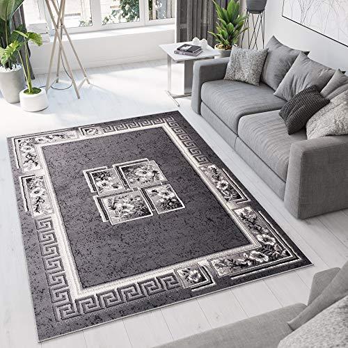 TAPISO Dream Tappeto Soggiorno Salotto Moderno Crema Grigio Geometrico Quadrato Foglie Floreale A...