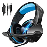 Stereo Gaming Headset for PS4 Xbox One PC Controller Nintendo Switch Games 3.5mm equipment, PHOINIKAS H3 Noise Cancelling Headphones, 7.1 Surround Sound, Over Ear Headphones with Mic, LED Light (Blue)
