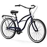 sixthreezero Around The Block Women's 3-Speed Beach Cruiser Bicycle, 26' Wheels, Navy Blue with Black Seat and Grips