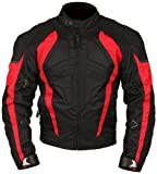 Milano Sport MJGAM0385ME Gamma Motorcycle Jacket with Red Accent (Black, Medium)