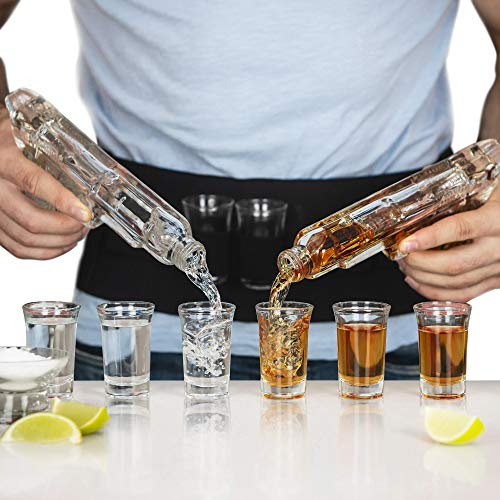 SHOTSCLUB Unique Whiskey Decanter and Glass Set - Gun Decanters for Alcohol, 8 Shot Glasses, Holster - Bar Accessories for Men - Scotch Bourbon Tequila Whisky (Deluxe Aluminium Carry Case)