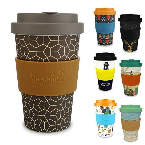 Morgenheld il tuo bicchiere di bambù alla moda   Coffee-to-Go bicchiere con coperchio a vite e fascetta in silicone, dal design futuristico, 400ml - Brownie
