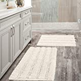 Extra Thick Striped Bath Rugs for Bathroom - (Set of 2) Anti-Slip Bath Mats Soft Plush Chenille Yarn Shaggy Mat Living Room Bedroom Mat Floor Water Absorbent (Ivory, 20 x 32 Plus 17 x 24 - Inches)