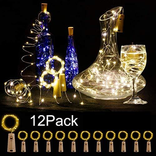 YYDE Luci della Stringa del LED Illumina Le Bottiglie di Pacco da 12 2M 20 LED Filo di Rame a Pile del Vino Luci per Fai da Te Camere Parties Matrimoni Decorazione Esterna dell'interno