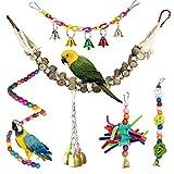 Juguetes para Pájaros, PietyPet 6 Piezas Madera Escalera, Columpios Pájaros Juguetes , Hamaca de...