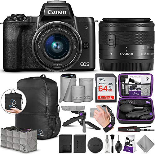 Canon EOS M50 Mirrorless Digital Camera with EF-M 15-45mm Lens 4K Video with Advanced Photo and Travel Bundle