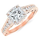 2.75 Carat 14K Rose Gold Vintage Halo Style Channel Set Round Brilliant Diamond Engagement Ring...