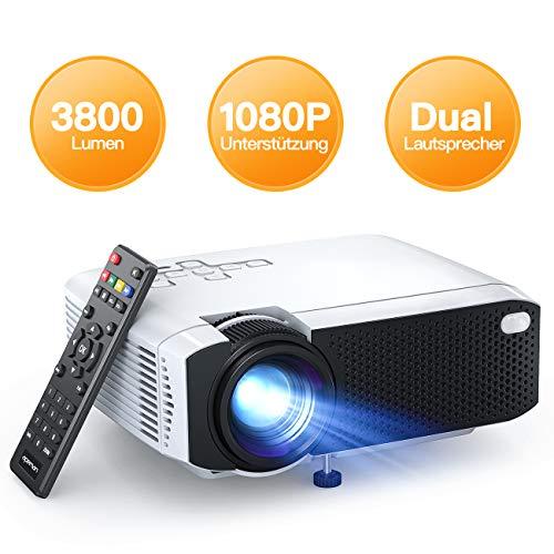 Beamer APEMAN Mini Beamer Tragbar Aktualisierte 3800 Lumen LED 45000 Stunden, Heimkino Unterstützt Full HD Unterstützt 1080P Native 480P, Kompatibel mit TV Box/Chromecast/Handy Mehrweg