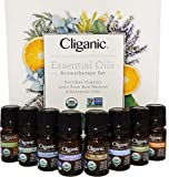 Cliganic USDA Organic Aromatherapy Essential Oils Set (Top 8), 100% Pure Natural - Peppermint,...