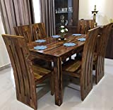Douceur Furnitures - Pure Sheesham Wood Dinning Table 6 Seater | Wooden Dining Table with 6 Chairs - Honey Finish