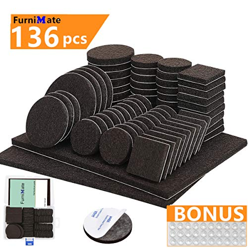 Furniture Pads 136 Pieces Pack Self Adhesive Felt Pad Brown Felt Furniture Pads 5mm Thick Anti Scratch Floor Protectors for Chair Legs Feet with Case and 30 Rubber Bumpers for Hardwood Tile Wood Floor