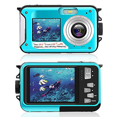 Waterproof Camera Underwater Camera for Snorkeling 2.7K 24MP Digital Camera, HD Rechargeable Camera with Dual Screen for Camping, Underwater, Swiming, Underwater Camera (Blue)
