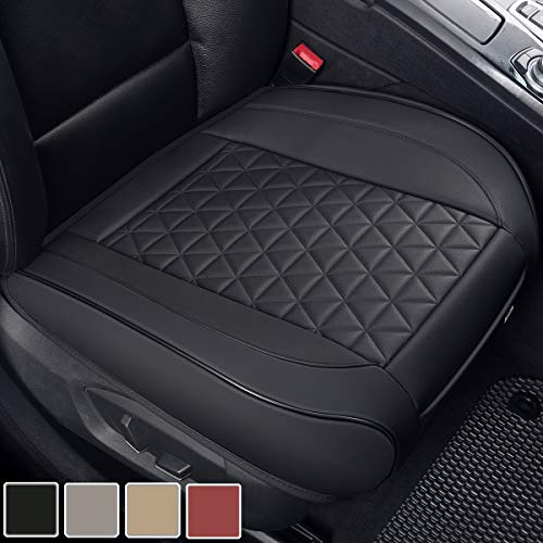 Black Panther Luxury PU Leather Car Seat Cover Protector for Front Seat Bottom,Compatible with 90% Vehicles (Sedan SUV Truck Van) - 1 Piece,Black (21.26×20.86 Inches)