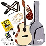 Pyle Premium Electric Acoustic Guitar w/Spruce Top and Mahogany Sides - Full Size Standard Dreadnought Cutaway Natural Matte Finish w/Full Starter Kit Gig Bag, 4-Band EQ, Rechargeable Clip Tuner