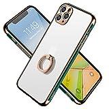 SYMOCA iPhone11 Pro リング ケース メッキ リング付き レンズ保護 マット加工 指紋防止 薄型 ……