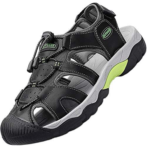 Topwolve Sandalias Cuero Deportivas para Hombre Verano Playa Senderismo Zapatos Antideslizante Trekking Casual Zapatos de Montaña Negro 45EU