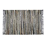 COTTON CRAFT Liverpool Handwoven Reversible Leather Chindi Area Rug, 2' X 3', Grey Ivory Multicolor