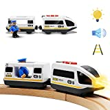 Battery Operated Action Locomotive Train (Magnetic Connection)- Powerful Engine Bullet Train Set Fits Chuggington Wooden Train and Tracks- Toys Car for Toddlers