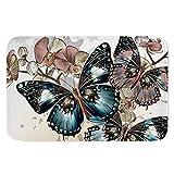 UNICEU Entrance Floor Rug Non-Slip Doormat Butterfly Vintage Door Mat for Bedroom Bathroom Kitchen