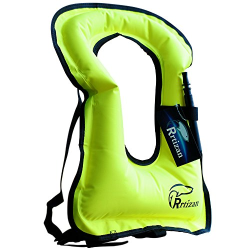 Rrtizan Snorkel Vest, Adults Portable Inflatable Swim Vest Jackets for Snorkeling Swimming Diving Safety(Green)