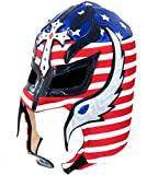 Del Mex Lycra Lucha Libre Adult Luchador Mexican Wrestling Mask Costume (Rey Mysterio (Red, White, Blue))