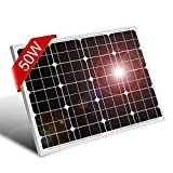 DOKIO 50 Watt Solar Panel Monocrystalline(HIGH Efficiency) to Charge 12 Volt Battery(AGM Gel Deep Cycle Batteries.ect) for Garden Lighting,Pump,Car Battery,RV,Camper, Boat, Shed, RV,Boat
