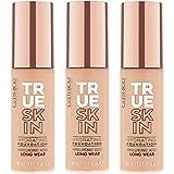 Catrice True Skin Hydrating Foundation, Make Up, Nr. 020 Warm Beige, nude, für Mischhaut, pflegend, langanhaltend, mattierend, natürlich, matt, vegan, ohne Alkohol, ohne Parabene, 3er Pack (3 x 30ml)