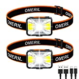 Lampe Frontale Puissante[Lot de 2], OMERIL LED Torch Frontale USB...