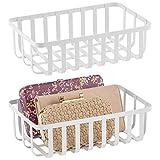 mDesign Juego de 2 cestas de rejilla de metal – Caja organizadora con atractivo diseño de rejilla – Organizador metálico para ordenar el despacho, el baño, la cocina o la entrada – blanco