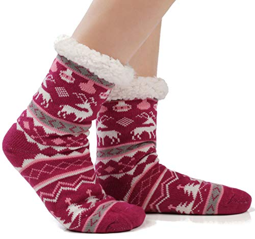 JARSEEN Donna Calze a pantofola ultra morbidi caldo termici Calzini invernali Natale Calze con Suola...