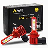 Alla Lighting Newest H10 9145 LED Fog Light Bulb AL-R Version 5200 Lumens Xtreme Super Bright High Power PY20D 9140 9040 9045 LED Fog Lights Bulbs Replacement for Cars, Trucks, 6000K Xenon White