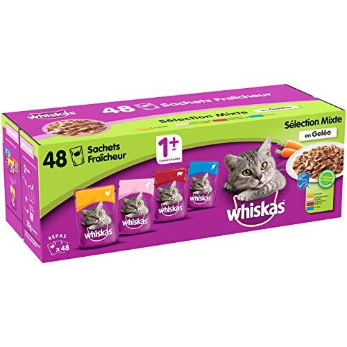 Whiskas Sélection Mixte en Gelée – Nourriture humide pour chat adulte – Alimentation complète en sachets fraîcheur – 48 x 100g