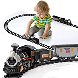 Lucky Doug Electric Train Set for Kids, Battery-Powered Train Toys with Sounds Include 4 Cars and 10 Tracks, Classic Toy Train Set Gifts for 3 4 5 6 Years Old Boys Girls