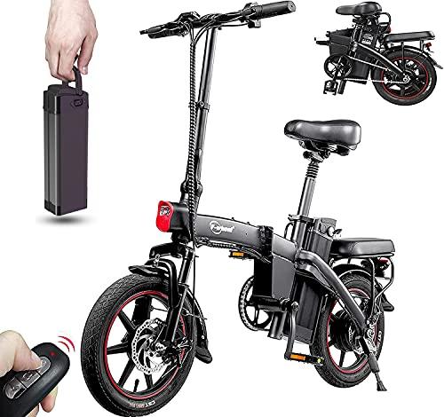 DYU Vélo Électrique Pliant, Vélo Électrique Portable de 14 Pouces Avec Clé Sans Fil, Assistance à la Pédale de Vélo Électrique 350 W, Batterie Amovible 48V 7.5Ah, Vélo de Ville Compact, Adulte Unisexe