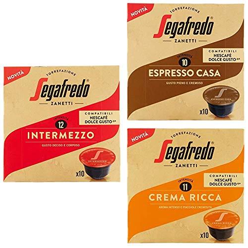 Segafredo - 30 Capsule Compatibili Dolce Gusto, Linea Le Classiche Gusto Intermezzo, Espresso Casa e Crema Ricca - 3 Astucci da 10 Capsule