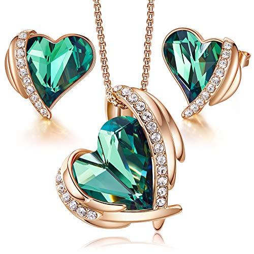 CDE Jewellery Sets Gifts for Women Love Heart Rose Gold Necklaces and Stud Earrings Set Anniversary Birthday Mother's Day Jewelry Gifts for Mum Her Wife (Jewellery)
