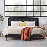 VECELO Leather Full Size Upholstered Platform Bed with PU headboard, Solid Wooden Slat Support No Box Spring Needed, Black PU