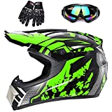 Youth Off-Road Motorcycle Helmets,Children's Helmets for Off-Road Motorcross and Mountain Bikes,Comfortable and Light Weight, DOT Quality Certification,Green,M