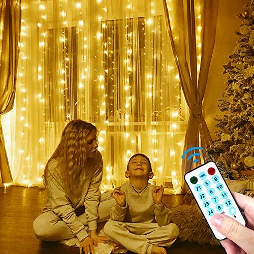 LECLSTAR Cortina de Luces LED USB,3m*3m 300 LED 8 Modos de L