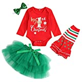 My First Christmas Outfit Baby Girl Long Sleeve Romper and Tutu Skirt Leg Warmers with Headband 4PCS Clothes Set (Red, 6-9 Months)