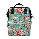 Backpack Coral And Teal Floral Mens Laptop Backpacks Shoulder Hiking Daypack