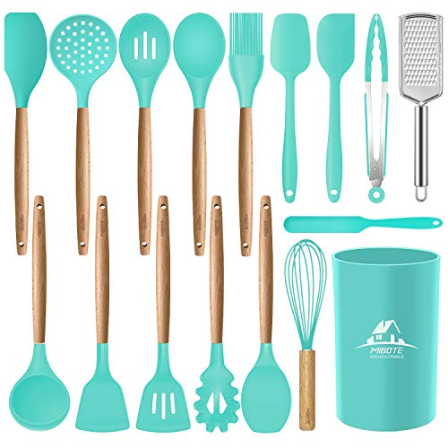 MIBOTE 17 Pcs Silicone Cooking Kitchen Utensils Set with Holder, Wooden Handles Cooking Tool BPA Free Non Toxic...