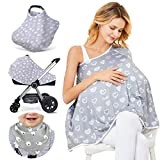 Baby Nursing Cover & Nursing Poncho - Multi Use Cover for Baby Car Seat Canopy, Shopping Cart Cover, Stroller Cover, 360° Full Privacy Breastfeeding Protection (Heart-Shaped)