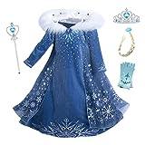 Eleasica Filles Cosplay Robe de Princesse Elsa Manches Longues Reine des Neiges...