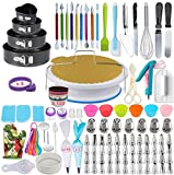 333pcs Cake Decorating Kit - Complete Cake Decorating Supplies & Baking Supplies - Baking Kit with 2 Piping Bags and 55 Tips - Frosting Bags and Tips with Turntable - Cupcake Decorating Kit