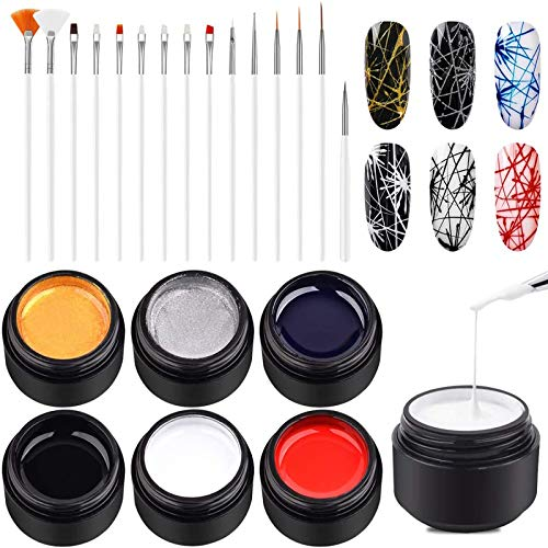 Ownest 6 Colors Spider Gel, Matrix Gel with Gel Paint Design Nail Art Kit Wire Drawing Nail Gel for Line, Soak Off UV LED DIY Manicure Nail Art Decoration With 15 Nail Art Brushes-#A