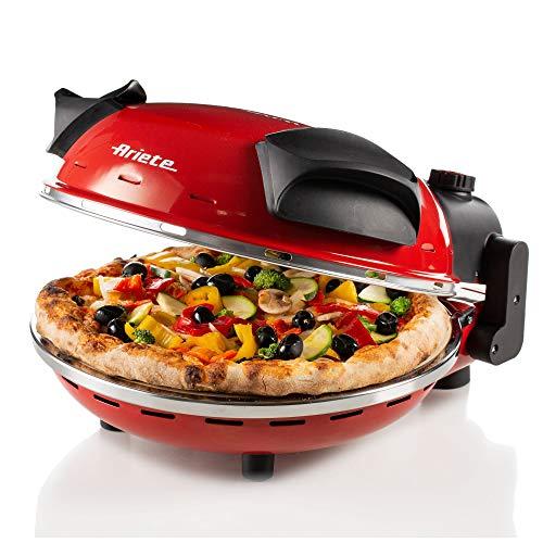 Ariete 909 pizza in 4 minuti, Forno per pizza, 400 gradi, Cuoce in 4, Piastra in pietra refrattaria 33 cm di diametro, 1200 watt, Timer 30, Rosso